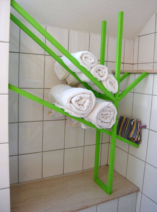 Experimental Bathroom Rack, with stuff